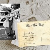 "Wedding Save The Date Card - WestHollywood Vintage Photo Personalized 4""x6"""