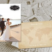 "Wedding Thank You Cards - Travel II Vintage Photo Personalized 4""x6"""