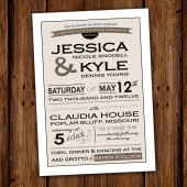 Vintage Typography Wedding Invitation