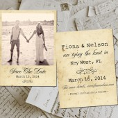 "Save The Date Polaroid Cards - KeyWest Vintage Photo Personalized 4.25""x5.5"""