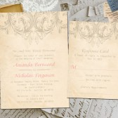 Wedding Invite and RSVP - Roux Vintage Elegant Personalized Card Suite