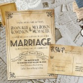 Wedding Invite and RSVP - Marvelle Vintage Rustic Personalized Card Suite