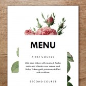 Printable Menu Template - Vintage Roses