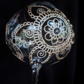Stunning hand painted wine glasses. Custom order, each one unique.Wedding glassware in henna style designs, crystal glass, dishwasher safe option to personalize