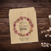 Wedding Seed Packets Pink Floral Wreath