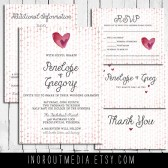 Watercolor Hearts Invitation Suite