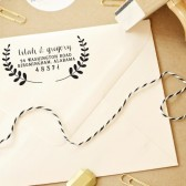 Custom Personalized Calligraphy Floral Laurel Regal Leaf Wedding Return Address Stamp – WC002