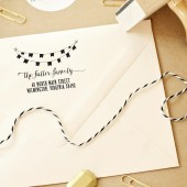 Custom Wedding Return Address Stamp Banner Garland Whimsical – WC003