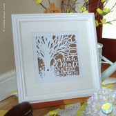 Personalised, wedding, tree, keepsake, unique framed paper cut artwork, anniversary