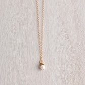TINY SINGLE WHITE PEARL NECKLACE