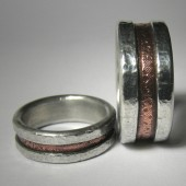 Rustic copper and silver industrial unique artisan wedding band set