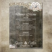 Rustic Wood Lace Wedding Menu