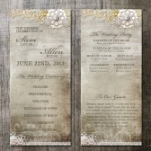 Rustic Light Lace Wedding Program - Double Sided- Digital Printables. Burlap, lace and vintage elements for that rustic country wedding.