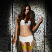 Ella White Soft Satin 6 Strap Garter Belt