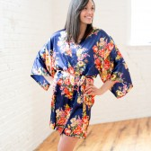 Navy Blue Satin Bridesmaid Robe