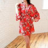 Coral Floral Robe - Cotton