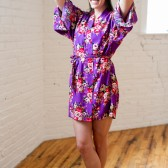 Purple Floral Cotton Bridesmaid Robe