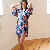 Blue Floral Cotton Bridesmaids Robe