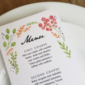 Printable Menu Template - Watercolor Flowers