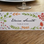 Place Card Template - Watercolor Flowers