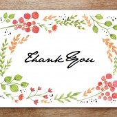 Thank You Card Template - Watercolor Flowers