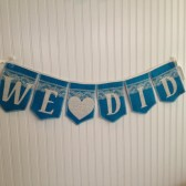 We Did, burlap & lace banner
