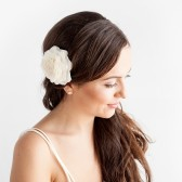 wedding, bridal, rose, hair, clip, rose hair clip, ivory, white