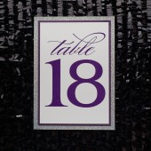 Purple Glitter Wedding Table Numbers