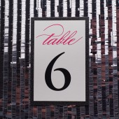 Pink and Black Glitter Wedding Table Numbers