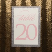 Pink and Silver Glitter Wedding Table Numbers
