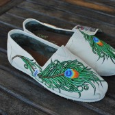 Custom Hand Painted Wedding Peacock Feather Toms