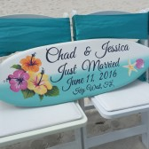 Surfboard Beach Wedding Sign, Hibiscus Flower