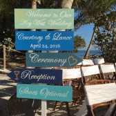 Directional Beach Wedding Welcome Sign