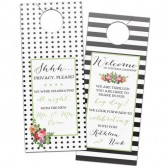 Stripes, polka dot and modern floral wedding hotel door hangers