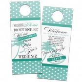 Polka dots with palm tree hotel door hanger for tropical destination wedding