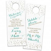 Glitzy confetti polka dot wedding door hangers for hotel guests