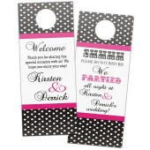Country rustic chic polka dot wedding door hangers