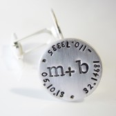 Here and Now Latitude Longitude Wedding Day Cuff Links