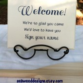 Welcome Sign Your Name Wedding Guest Book Sign In Table 12x9 B&B Beach Nautical Lake Baby Shower Cottage Off White Custom