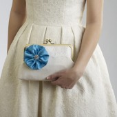 White Wedding Clutch with Tiffany Blue Flower Brooch