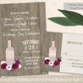 Vineyard Wedding Invitations in Blush and Burgundy Wine Bottle