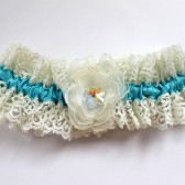 Swarovski Snowflake Winter Wedding Lace Garter, Couture Tiffany Blue Bridal Garter, Ivory Flower Bride Garter, Something Blue Bride Gift