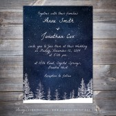 PRINTABLE Winter Wedding Invitation, Navy Blue Winter Wonderland Snow Wedding Invitation, Starry Night Snowfall Wedding Invite by Soumya\'s Invitations