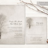 Winter Wedding Invitation Printable Christmas Wedding invitation and RSVP Card tree wedding Rustic Winter Tree Woodland DIY Digital Template