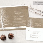 Rustic winter wedding invitations featuring trees and snowflakes