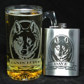 Groomsmen Gift Set, Personalized Flask and Beer stein w/ Wolf