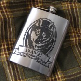 Personalized Wolf Flask