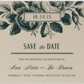 Wood Block Roses Save the Date, rustic wedding, rustic save the date, vintage wedding, vintage save the date, rose invitation, floral save the date