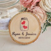 Mason Jar Wood Slice Magnet