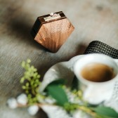 Diamond shape wooden ring box by Woodstorming